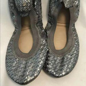 YOSI SAMRA SAMARA Size 7 Silver Woven Ballet Flats